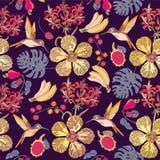 Άνευ ραφής τροπικά λουλούδια με τις μπανάνες Ελεύθερη απεικόνιση δικαιώματος