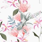 Άνευ ραφής τροπικοί κρίνοι, protea και άλλο εξωτικό υπόβαθρο σχεδίων λουλουδιών απεικόνιση αποθεμάτων