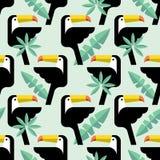 Άνευ ραφής τροπικό πρότυπο με τα πουλιά Στοκ Εικόνες