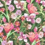 Άνευ ραφής τροπικό σχέδιο με τα εξωτικά λουλούδια Στοκ Εικόνες