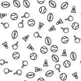 Άνευ ραφής τυπωμένη ύλη σχεδίων αθλητικών στοιχείων ποδοσφαίρου απεικόνιση αποθεμάτων