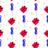 Άνευ ραφής των μπαλονιών, των δώρων και των αστεριών για τις διακοπές Στοκ Εικόνες