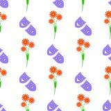 Άνευ ραφής των chamomiles και των λυπημένων και αστείων μασκών Στοκ Εικόνες