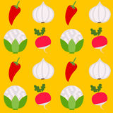 Άνευ ραφής υγιή φρέσκα λαχανικά σχεδίων Στοκ Εικόνες