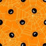 Άνευ ραφής υπόβαθρο αποκριών με τις αράχνες και τον Ιστό επίσης corel σύρετε το διάνυσμα απεικόνισης ελεύθερη απεικόνιση δικαιώματος
