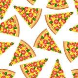 Άνευ ραφής υπόβαθρο από τις φέτες της νόστιμης πίτσας διανυσματική απεικόνιση