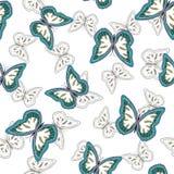 Άνευ ραφής υπόβαθρο από τις φωτεινές πεταλούδες διανυσματική απεικόνιση