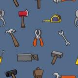Άνευ ραφής υπόβαθρο εργαλείων οικοδόμησης κινούμενων σχεδίων Στοκ Εικόνες