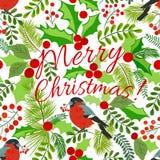 Άνευ ραφής υπόβαθρο, θέμα Χριστουγέννων, πουλί, κλάδοι έλατου, μούρα διανυσματική απεικόνιση