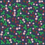 Άνευ ραφής υπόβαθρο κήπων μούρων φραουλών λουλουδιών σχεδίων floral διανυσματική απεικόνιση