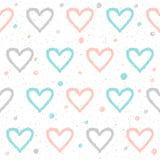 Άνευ ραφής υπόβαθρο καρδιών Doodle Αφηρημένο παιδαριώδες μπλε, άσπρο Στοκ φωτογραφίες με δικαίωμα ελεύθερης χρήσης