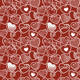 Άνευ ραφής υπόβαθρο καρδιών αγάπης διασκέδασης Στοκ Φωτογραφία