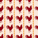 Άνευ ραφής υπόβαθρο κοτόπουλου Διανυσματικό σχέδιο κοκκόρων Στοκ εικόνα με δικαίωμα ελεύθερης χρήσης