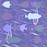 Άνευ ραφής σχέδιο κοχυλιών και ψαριών Στοκ Εικόνες