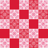 Άνευ ραφής υπόβαθρο κόκκινος και άσπρος με τα λουλούδια Στοκ Φωτογραφίες