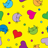Άνευ ραφής υπόβαθρο με με τις διακοσμητικά γάτες, τις καρδιές και τα σημεία Πόλκα Στοκ εικόνα με δικαίωμα ελεύθερης χρήσης