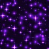 Άνευ ραφής υπόβαθρο με τα αστέρια και τις θαμπάδες lila διανυσματική απεικόνιση