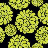 Άνευ ραφής υπόβαθρο με τα αφηρημένα φωτεινά λουλούδια σε μια μαύρη πλάτη Στοκ Εικόνα