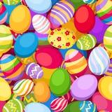Άνευ ραφής υπόβαθρο με τα ζωηρόχρωμα αυγά Πάσχας. Vec διανυσματική απεικόνιση