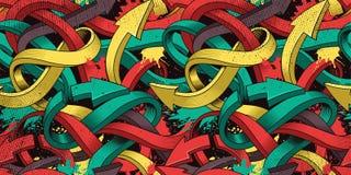 Άνευ ραφής υπόβαθρο με τα ζωηρόχρωμα βέλη γκράφιτι της τέχνης διανυσματική απεικόνιση