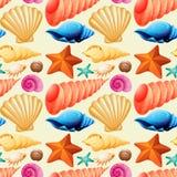 Άνευ ραφής υπόβαθρο με τα θαλασσινά κοχύλια και τον αστερία ελεύθερη απεικόνιση δικαιώματος