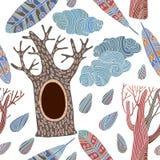Άνευ ραφής υπόβαθρο με τα διακοσμητικά δέντρα Διανυσματική απεικόνιση