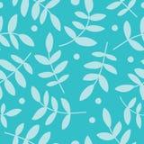 Άνευ ραφής υπόβαθρο με τα διακοσμητικά φύλλα και τα σημεία Πόλκα Στοκ Εικόνα