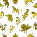 Άνευ ραφής υπόβαθρο με τα κινεζικά zodiac ζώα στο λευκό απεικόνιση αποθεμάτων