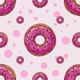Άνευ ραφής υπόβαθρο με τα κινούμενα σχέδια donuts στοκ φωτογραφία