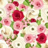 Άνευ ραφής υπόβαθρο με τα κόκκινα, ρόδινα και άσπρα λουλούδια επίσης corel σύρετε το διάνυσμα απεικόνισης διανυσματική απεικόνιση