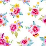 Άνευ ραφής υπόβαθρο με τα λουλούδια watercolor Στοκ Εικόνες