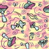 Άνευ ραφής υπόβαθρο με τα μανιτάρια, τις βελόνες και τους σκώρους Amanita agari μυγών διανυσματική απεικόνιση