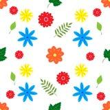 Άνευ ραφής υπόβαθρο με τα μικρά λουλούδια και τα φύλλα στο λευκό διανυσματική απεικόνιση