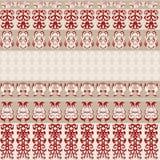Άνευ ραφής υπόβαθρο με τα μπεζ λωρίδες και κόκκινες εμφάσεις στα σχέδια απεικόνιση αποθεμάτων