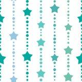 Άνευ ραφής υπόβαθρο με τα μπλε και τυρκουάζ σημεία και τα αστέρια στο άσπρο υπόβαθρο Στοκ Φωτογραφίες