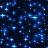Άνευ ραφής υπόβαθρο με τα μπλε αστέρια και τις θαμπάδες απεικόνιση αποθεμάτων