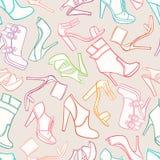 Άνευ ραφής υπόβαθρο με τα παπούτσια των γυναικών ελεύθερη απεικόνιση δικαιώματος