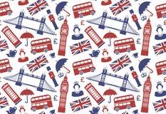 Άνευ ραφής υπόβαθρο με τα παραδοσιακά σύμβολα της Αγγλίας διανυσματική απεικόνιση