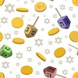 Άνευ ραφής υπόβαθρο με τα παραδοσιακά σύμβολα Hanukkah ελεύθερη απεικόνιση δικαιώματος