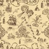 Άνευ ραφής υπόβαθρο με τα πλάσματα φαντασίας και τα στοιχεία χαρτών θησαυρών πειρατών απεικόνιση αποθεμάτων
