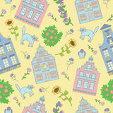 Άνευ ραφής υπόβαθρο με τα σπίτια, τις γάτες και τα λουλούδια Στοκ Φωτογραφίες