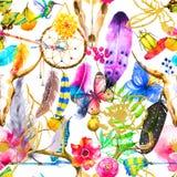 Άνευ ραφής υπόβαθρο με τα στοιχεία boho watercolor Στοκ Φωτογραφίες