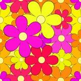 Άνευ ραφής υπόβαθρο με τα φωτεινά λουλούδια Στοκ Εικόνες
