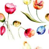 Άνευ ραφής υπόβαθρο με τα όμορφα λουλούδια τουλιπών Στοκ φωτογραφία με δικαίωμα ελεύθερης χρήσης