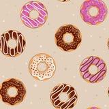 Άνευ ραφής υπόβαθρο με τα donuts επίσης corel σύρετε το διάνυσμα απεικόνισης Ένα απλό σχέδιο Στοκ Εικόνες