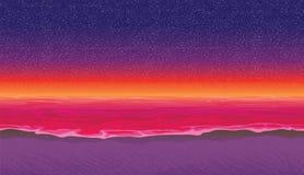Άνευ ραφής υπόβαθρο με την ακτή, ωκεανός Αμμώδης παραλία στο ηλιοβασίλεμα ελεύθερη απεικόνιση δικαιώματος