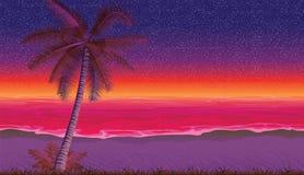 Άνευ ραφής υπόβαθρο με την ακτή, ωκεανός, φοίνικας Αμμώδης παραλία στο ηλιοβασίλεμα ελεύθερη απεικόνιση δικαιώματος