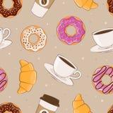 Άνευ ραφής υπόβαθρο με την εικόνα της διανυσματικής απεικόνισης προγευμάτων Γλυκά και καφές Στοκ εικόνα με δικαίωμα ελεύθερης χρήσης