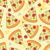 Άνευ ραφής υπόβαθρο με την πίτσα Πίτσα επίσης corel σύρετε το διάνυσμα απεικόνισης Στοκ Φωτογραφίες