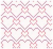 Άνευ ραφής υπόβαθρο με τη συμμετρική διακόσμηση καρδιών Απεικόνιση αποθεμάτων